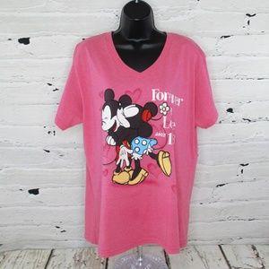 Disney Womens Plus Mickey and Minnie T-Shirt